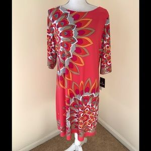 NWT! Sandra Darren SZ16, dark salmon printed dress